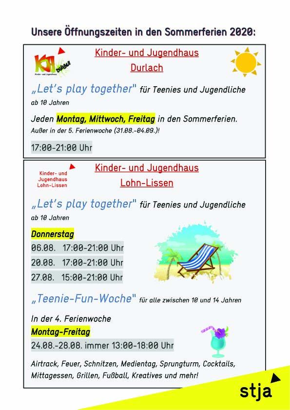 Plakat_Öffnungszeiten_Durlach in den Sommerferien 2020 Kopie
