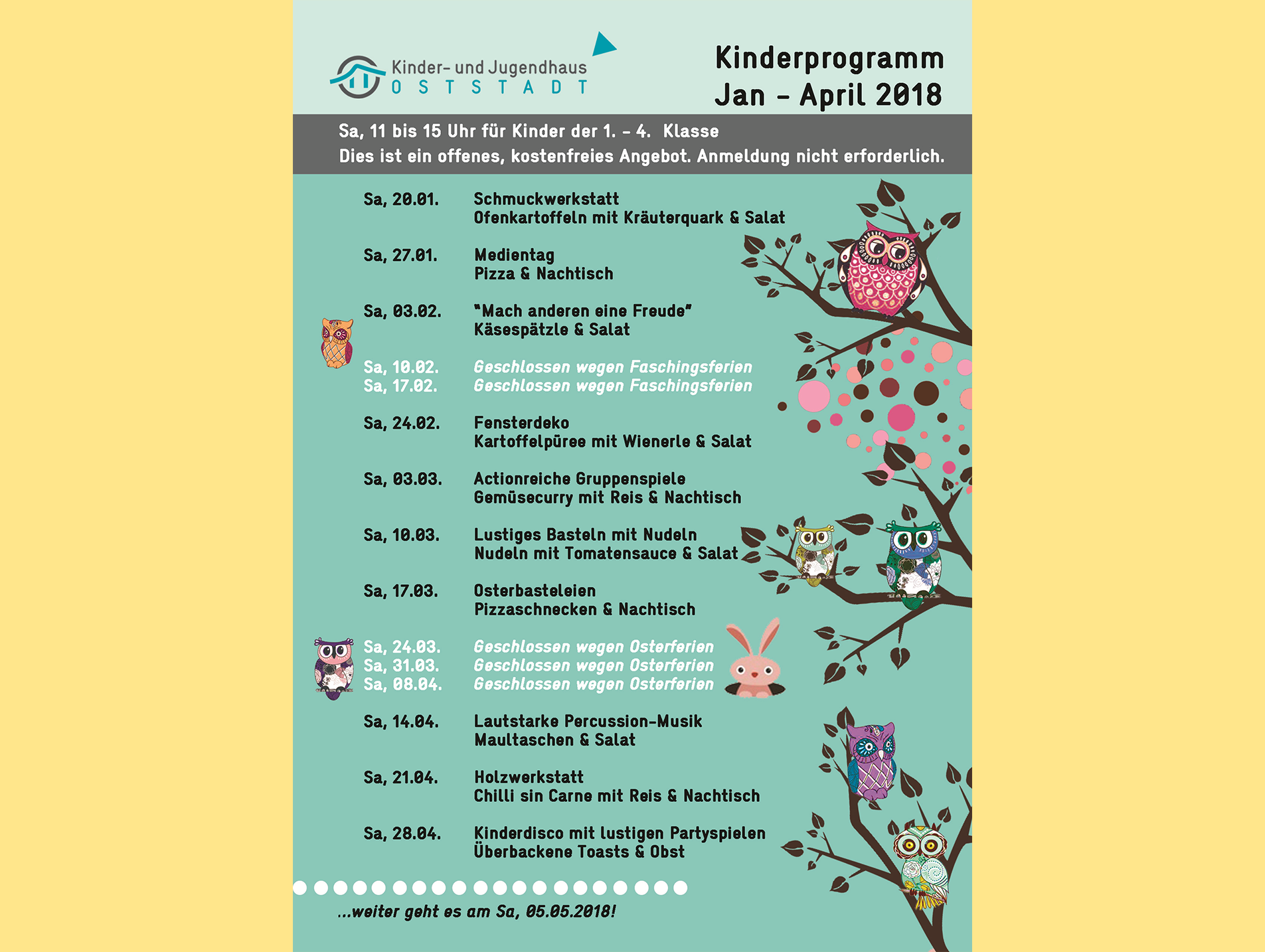 News Kinderprogramm Jan - April 2018